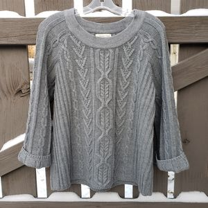 Coldwater Creek Med Gray Cable Sweater